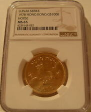 Hong Kong 1978 Gold $1,000 NGC MS-65 Year of The Horse