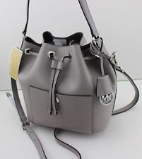 NEW AUTHENTIC MICHAEL KORS GREENWICH GREY LEATHER HANDBAG MD BUCKET BAG WOMEN'S