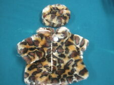 "VINTAGE Faux Leopard Skin Fur Coat with Hat - fits 18"" doll - 9"" Length 8"" Width"