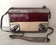 Rebecca Minkoff New Genuine Silver & Burgundy Leather Shoulder / Clutch Bag