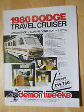 1980 DODGE TRAVEL CRUISER DEMON TWEEKS  POSTER ADVERT READY TO FRAME A4 SIZE
