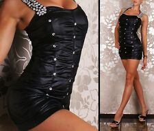 Ladies Sexy Medium  Black Faux Leather Look Hot Party Club wear Mini Dress! NEW!