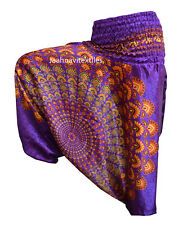INDIAN BAGGY GYPSY HAREM PANTS YOGA MEN WOMEN SATIN CHAKRI PURPLE TROUSER DANCE