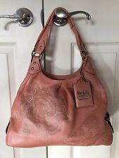 VINTAGE COACH MADISON FLORAL EMBOSSED MAGGIE ANTIQUE ROSE LEATHER 15026