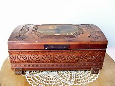 Vintage Wood CARVED KEEPSAKE BOX Decoupage Feet Mirror Jewelry  Needs TLC