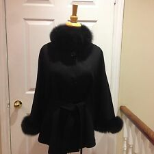 BELT Black Wool Cashmere Wool cape with Black Fox fur Collar & Cuff Trim