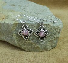 New Oxidised 925 Sterling Silver and Pink Chalcedony Cat Eye Drop Earrings