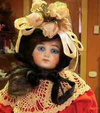 """Antique 11"""" Cabinet Sized Belton Bisque Doll on Orig Early Straightwristed Body"""