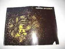 Original Studer Revox  Prospekt Katalog mit A77 A76 A78 A700 A720 A722 etc.