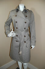GRYPHON New York Double Breasted Beaded Back Belted Trench Coat~Size L~EUC