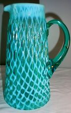 Ribbed Opal Lattice Blue Opalescent Tankard Pitcher Victorian, Really Rare!!!