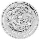 2012 Australian Lunar Series II - Year of Dragon 2oz Silver $2 Uncirculated Coin