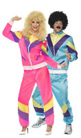 Couples Ladies & Mens 80s 1980s Shell Suit Tracksuit Fancy Dress Costumes Outfit