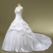 2017 Long White Ivory wedding Bridal Dress Gown Stock size 6 8 10 12 14 16 18+Y7