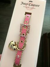 Limited Edition Juicy Couture Pink Rhinestone Gold Heart Charm Dog Cat Collar