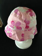 BNWOT Girls Cute Pink & Flowers Jelly Beans Bucket Style Sun Hat Size 18 Months