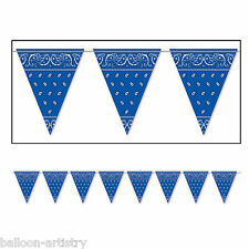 12ft Wild West Western BLUE Bandana Party Pennant Banner Bunting Decoration