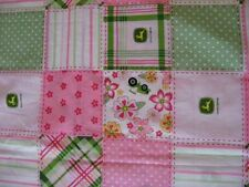 fabric material JOHN DEERE green pink tractor flower floral madras patch cotton