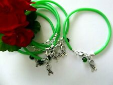 6 GREEN LYMPHOMA/LIVER/KIDNEY/BLADDER CANCER AWARENESS BRACELETS