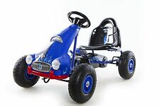 Go Kart 4 Wheel Kids Ride on Car Pedal Powered Outdoor Racer, Blue