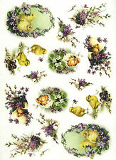 Rice Paper for Decoupage, Scrapbook Sheet, Craft Paper  Easter Chicks in Flowers