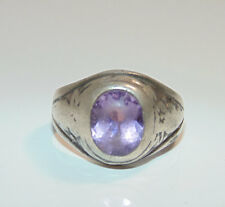 Vintage Sterling Silver Amethyst Solitaire Mens Pinky Pinkie Very Old Ring 925
