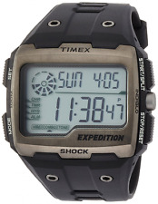 Timex Men's Quartz Watch with LCD Dial Digital Display and Black Resin Strap TW4