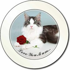 Cat+Red Rose 'Love You Mum' Car/Van Permit Holder/Tax Disc Gift, AC-36RlymT