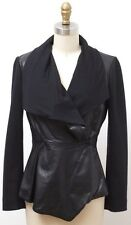 MAX MARA Genuine Leather & Wool Black Draped Front Fitted Jacket SIZE 4