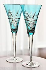 2 Waterford Aqua Blue Snow Crystals Cut to Clear Wine Champagne Flute Goblet New