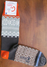 Corgi Mens Cotton Socks Size Large Fairisle Grey Orange Made Wales Medium Thick