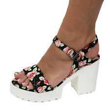 Damen Sandalen Gr. 37 Sandaletten HIgh Heels Plateau Blumen neu F35