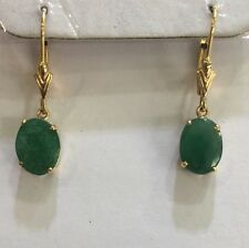 14k Solid Yellow Gold Dangle Leverback Earrings with Natural Emerald Oval1.72GM