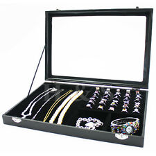 Glass Lid Ring Necklace Bracelet Jewellery Display Storage Box Tray Organiser -Z