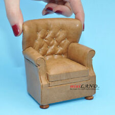 English Armchair for dollhouse miniature 1:12 scale Brown living room Y8089A