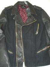 Scotch & Soda Leather and Wool Motorcycle Jacket Coat NWT Large $525