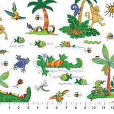 I Spy Amazon Cotton Quilt fabric by Northcott Monkey Alligator Bugs Birds White