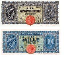 Italia 2 Banconote: 500,1000 lire ITALIA TURRITA Serie non emesse(Riproduz/copy)