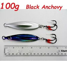 100g (3.5oz) Flat Fall Keel Butterfly Jig Black Anchovy Double Assist Hook