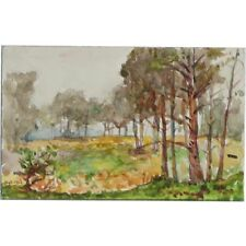 ORIGINALE 1916 miniatura Berkshire Bosco Paesaggio dipinto ad acquerello Cooper