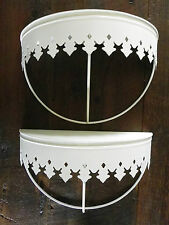 """DeCoRaTiVe WHiTe MeTaL SHeLVeS ❁ SeT of 2 - 15"""" Wide SHaBBy CHiC CoTTaGe"""