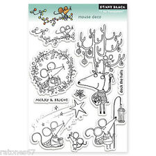 New Penny Black MOUSE DECO Clear Stamp Christmas Antlers Holidays Wishes