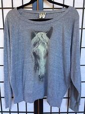 HAUTE HIPPIE Horse Gray Long Sleeve Knit Top Size M/L
