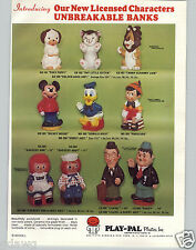 1973 PAPER AD Character Play Pal Platic Banks Laurel Hardy Pinocchio Raggedy Ann