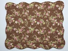 Set of 2 Great Finds BROWNIE Floral Quilted Cotton Placemats