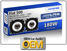 "Fiat 500 Front Dash speakers Alpine 10cm 4"" car speaker kit 180W Max"