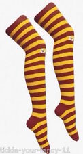 Ladies Teens Maroon and Yellow Stripe Over The Knee Socks Harry Potter Football