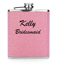 Light Pink Custom 7oz Stainless Steel GLITTER BLING HIP FLASK PERSONALIZED
