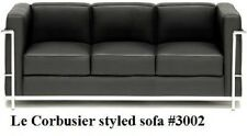 Modern Le corbusier style black leather sofa #3002