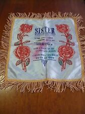 Vintage SISTER PILLOW CASE HANDPAINTED? ROSES MILITARY WW2?